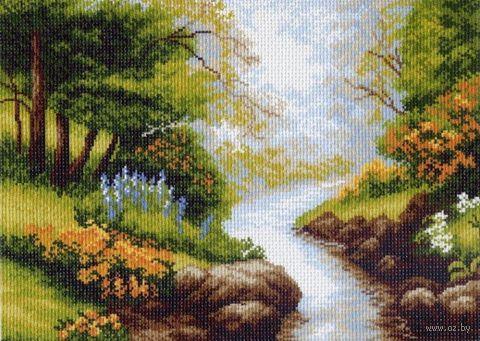 """Канва с нанесенным рисунком """"Ручей в лесу"""""""