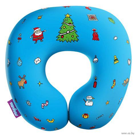 """Подушка под шею """"Любимый праздник"""" (34х34 см; голубая) — фото, картинка"""