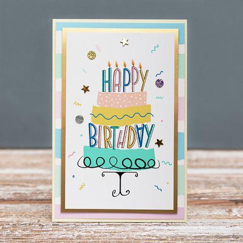 """Открытка """"Happy Birthday"""" (арт. 19-P-434) — фото, картинка"""