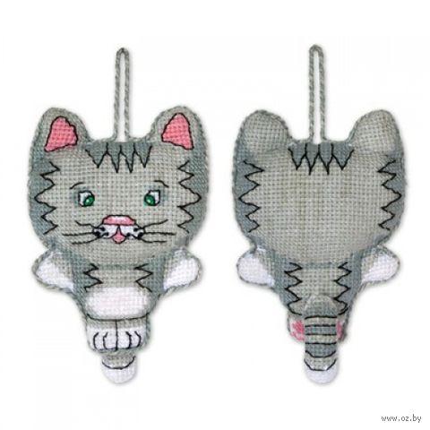"Вышивка крестом ""Игрушка. Котик"" (70х95 мм) — фото, картинка"