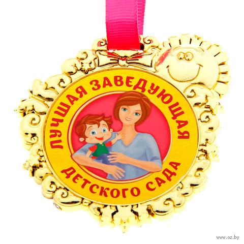 """Медаль пластмассовая """"Лучшая заведующая детского сада"""" (6,5х7 см) — фото, картинка"""