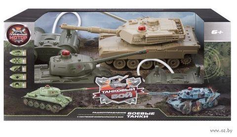 """Игровой набор """"Танковый бой. Т34 vs Abrams M1A2"""" (со световыми и звуковыми эффектами; арт. 870236) — фото, картинка"""