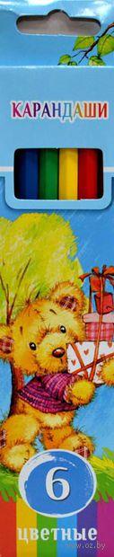 """Цветные карандаши """"Забавные пушистики"""" в картонной коробке (6 цветов)"""