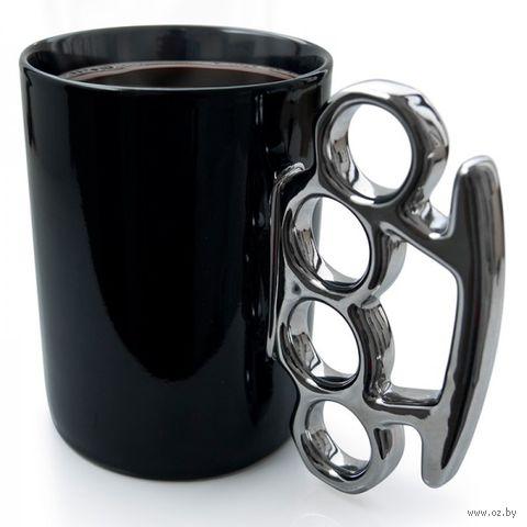 Кружка Knuckle (черная, серебристая)