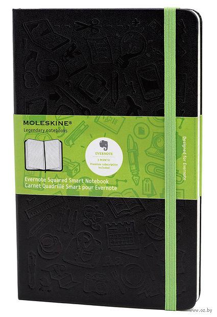 """Записная книжка Молескин """"Evernote"""" в клетку (большая; твердая черная обложка)"""