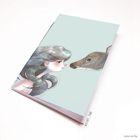 """Блокнот белый """"Девушка с оленем"""" А5 (946)"""