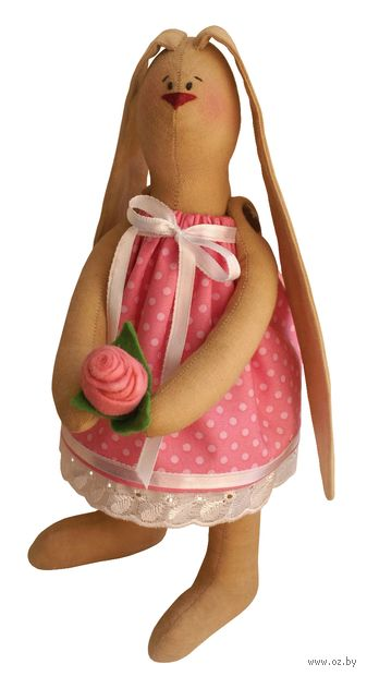 """Набор для шитья из ткани """"Зайка с цветком"""" — фото, картинка"""