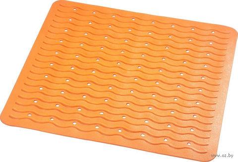 """Коврик для ванной резиновый """"Волна"""" (54х54 см; оранжевый) — фото, картинка"""