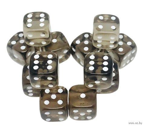 """Набор кубиков D6 """"Прозрачный"""" (12 мм; 12 шт.; чёрный) — фото, картинка"""