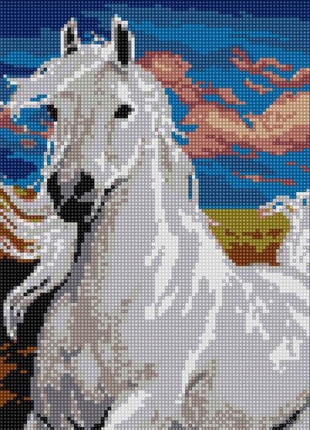 """Алмазная вышивка-мозаика """"Белый конь"""" (360х260 мм) — фото, картинка"""