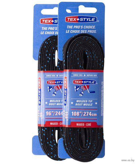 """Шнурки для коньков с пропиткой """"W918"""" (пара; 2,74 м; чёрные) — фото, картинка"""
