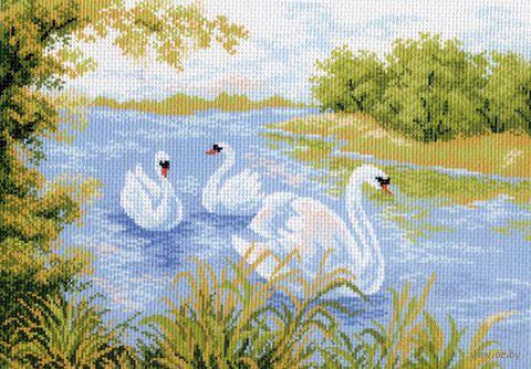 """Канва с нанесенным рисунком """"Лебединое озеро"""""""