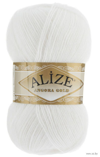 "Пряжа ""ALIZE. Angora Gold №55"" (100 г; 550 м; белый) — фото, картинка"