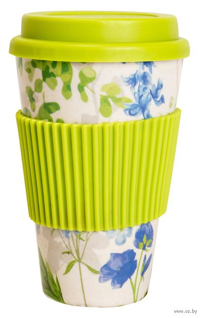 """Стакан бамбуковый """"Цветы"""" (370 мл; салатовый) — фото, картинка"""