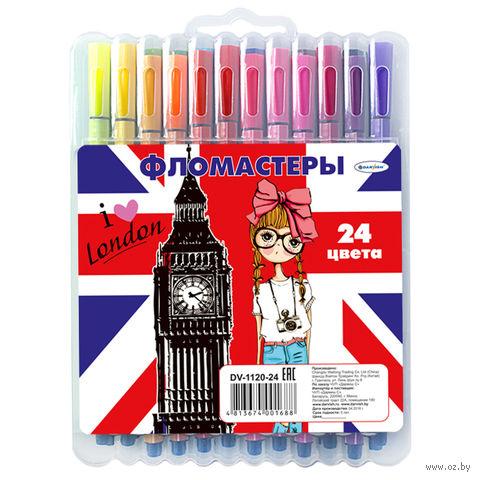 """Фломастеры """"Darvish"""" в пенале (24 цвета)"""