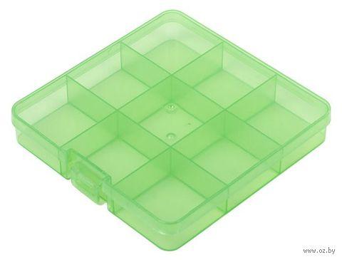 Органайзер для рукоделия (салатовый; 5-9 отделений) — фото, картинка