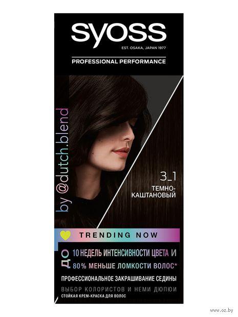 "Крем-краска для волос ""Syoss"" тон: 3-1, темно-каштановый — фото, картинка"