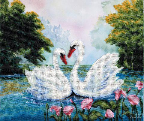 """Вышивка крестом """"Лебеди на пруду"""" (325х275 мм) — фото, картинка"""