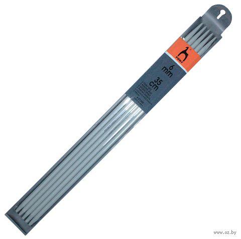 Спицы чулочные для вязания (металл; 6 мм; 35 см) — фото, картинка