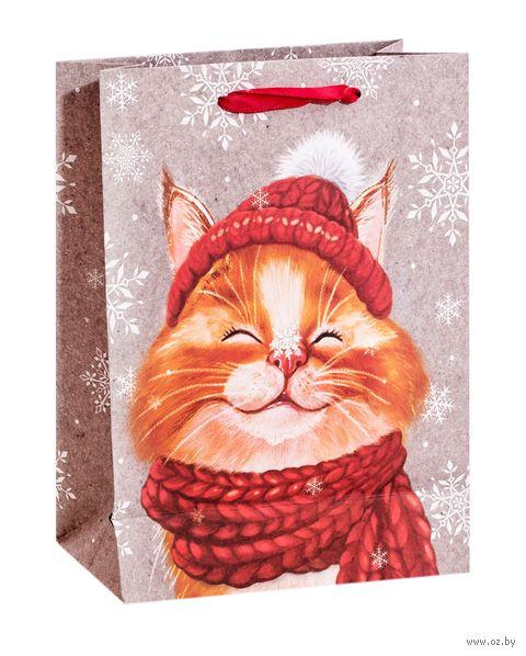"""Пакет бумажный подарочный """"Снежный кот"""" (18х23х8 см) — фото, картинка"""