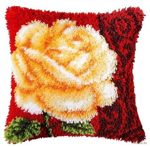 """Вышивка в ковровой технике """"Подушка. Белая роза"""" (400х400 мм) — фото, картинка"""