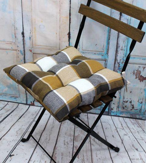 "Подушка на стул ""Шотландка"" (42х42 см; коричневая) — фото, картинка"