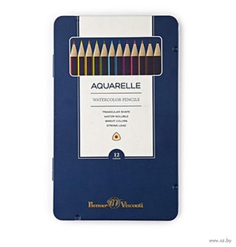 """Набор карандашей цветных акварельных """"Aquarelle"""" (12 цветов) — фото, картинка"""