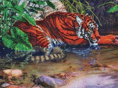 "Вышивка бисером ""Тигр в воде"" (400х300 мм) — фото, картинка"