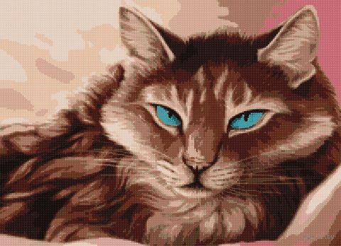 """Алмазная вышивка-мозаика """"Кошка с голубыми глазами"""" (500х360 мм) — фото, картинка"""