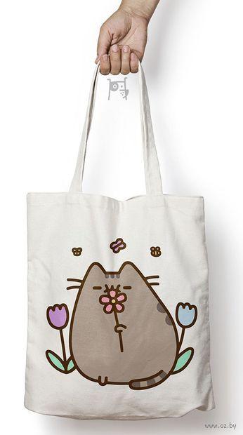 "Сумка-шоппер ""Котик с цветочком"" — фото, картинка"