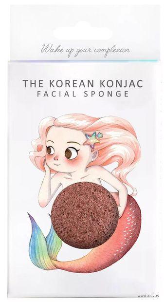 "Спонж для очистки лица ""Konjac Sponge Mermaid Red Clay. С красной глиной. Для зрелой кожи"" — фото, картинка"