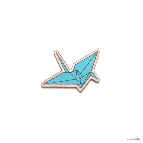 """Значок деревянный """"Оригами. Журавль"""" (голубой) — фото, картинка"""