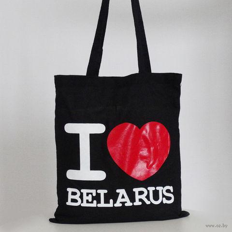 """Сумка с длинными ручками Vitaem """"I LOVE BELARUS"""" (черная) — фото, картинка"""