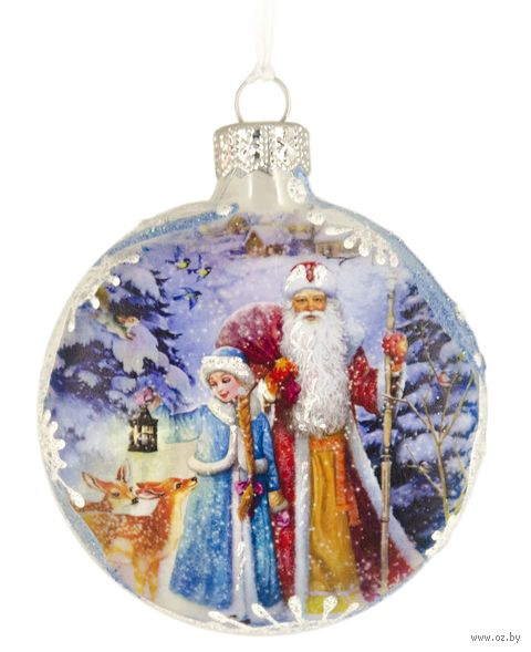 "Ёлочное украшение ""Медальон. Дед Мороз и Снегурочка"" (арт. Ф-89) — фото, картинка"