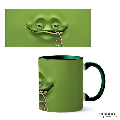 """Кружка """"Face"""" (зеленая; арт. 666) — фото, картинка"""