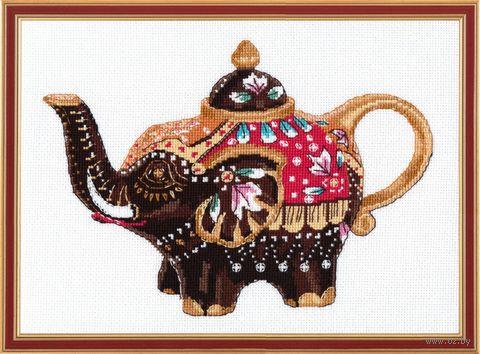 """Вышивка крестом """"Чайный слоник"""" (260х190 мм) — фото, картинка"""