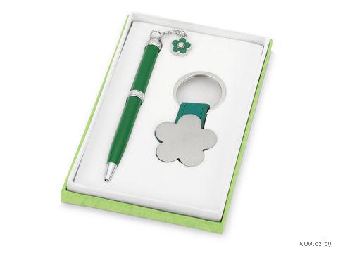 """Набор. Шариковая синяя ручка, брелок """"Цветок"""" (зеленый корпус)"""