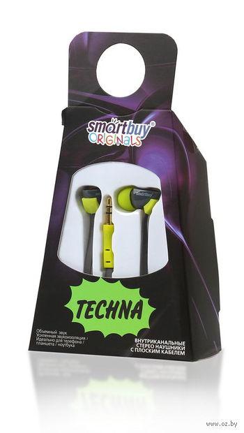 Внутриканальные наушники SmartBuy TECHNA, плоский кабель, SBE-7210 (желтый/серые)