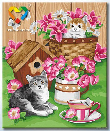 """Картина по номерам """"Котята и цветы"""" (500x600 мм; арт. HB5060007) — фото, картинка"""