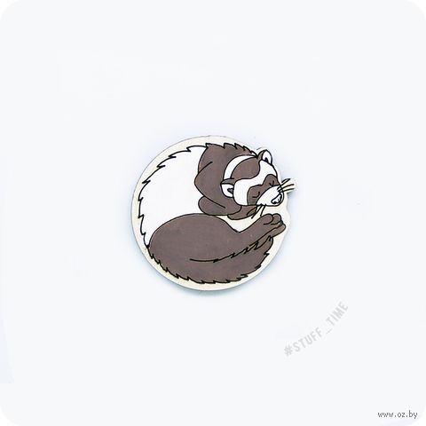 "Значок деревянный ""Хорек"" (арт. 293) — фото, картинка"
