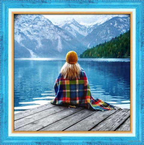 """Алмазная вышивка-мозаика """"Девушка у озера"""" (400х400 мм) — фото, картинка"""