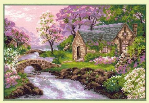 """Вышивка крестом """"Весенний пейзаж"""" (380х260 мм) — фото, картинка"""