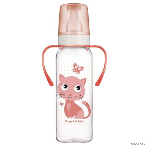 Бутылочка для кормления с ручками и рисунком (250 мл)
