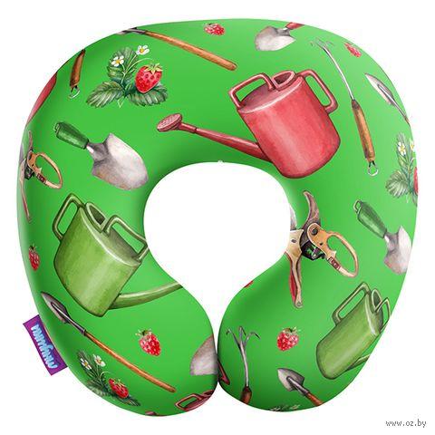 """Подушка под шею """"Сад и огород. Большие предметы"""" (34х34 см; зелёная) — фото, картинка"""