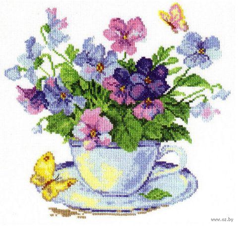 """Вышивка крестом """"Утренние цветы"""" (240х240 мм) — фото, картинка"""