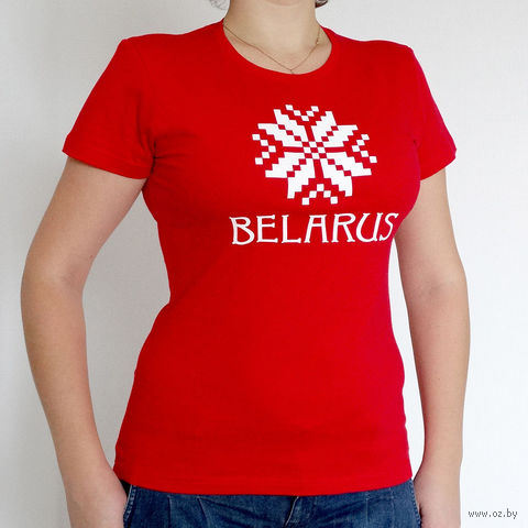 "Футболка женская Vitaem ""Belarus"" (красная) (L)"