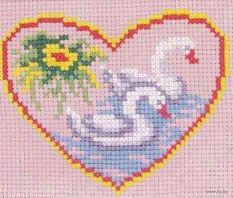 """Вышивка крестом """"Лебеди в сердечке"""""""