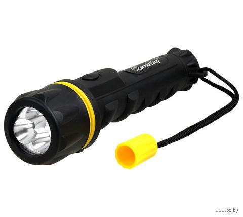 Светодиодный прорезиненный фонарь 3 LED Smartbuy 2АА (черный)