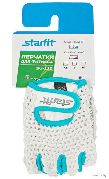 Перчатки для фитнеса SU-110 (XS; белые/голубые) — фото, картинка