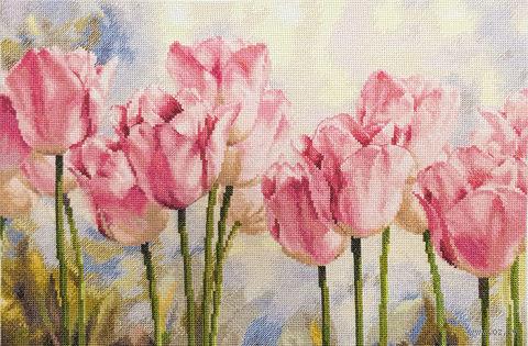 """Вышивка крестом """"Розовые тюльпаны"""" (400х270 мм) — фото, картинка"""